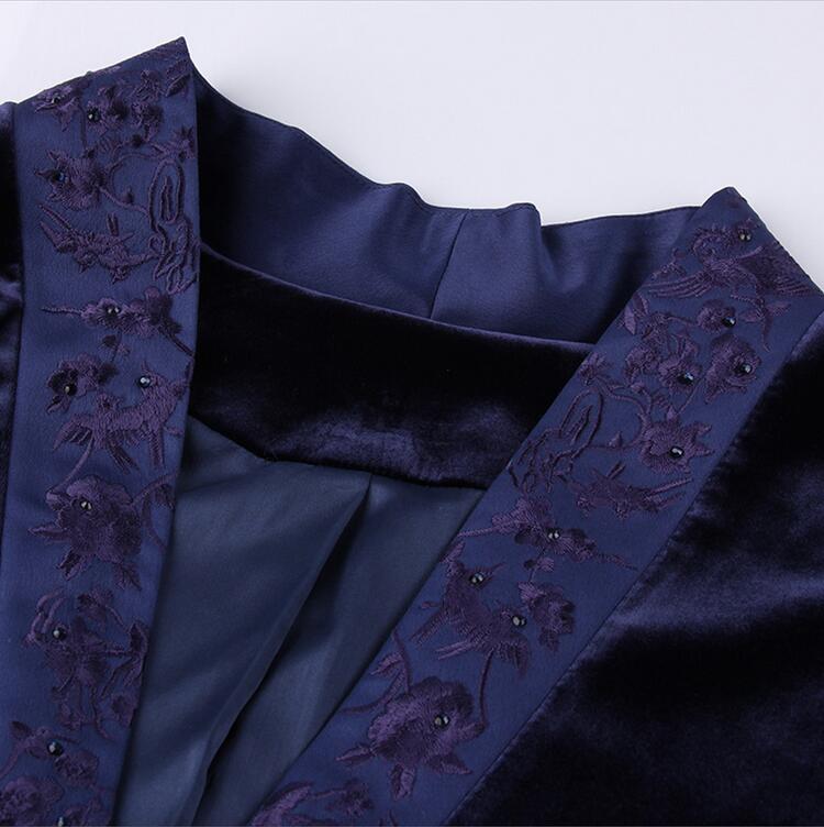 Lady S Manteau Ensemble Jambe Velours Vintage Fuchsia bleu Gamme Broderie Casual Noir Royal Set Costume De Élégant Femmes Top Haut Floral Pantalon xxl Large UHw6P6q