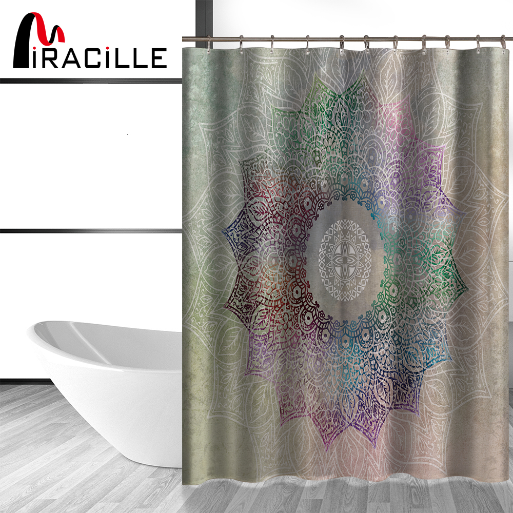 Miracille Modern Bathroom Indian Mandala Shower Curtain With 12 Hooks Flower Pattern Hippie Boho Decorations Geometric Decor