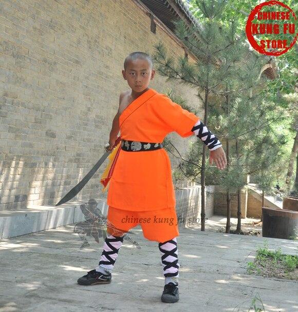 Оранжевый Шаолинь кунг-фу конкуренция равномерной боевые искусства ушу костюм Полные размеры для детей и взрослых