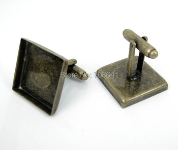 Blank Cufflinks Settings with Square Deep Wall Bezel Cabochons Bases Men's Metal Cuff links Findings Antique Bronze tone Plated