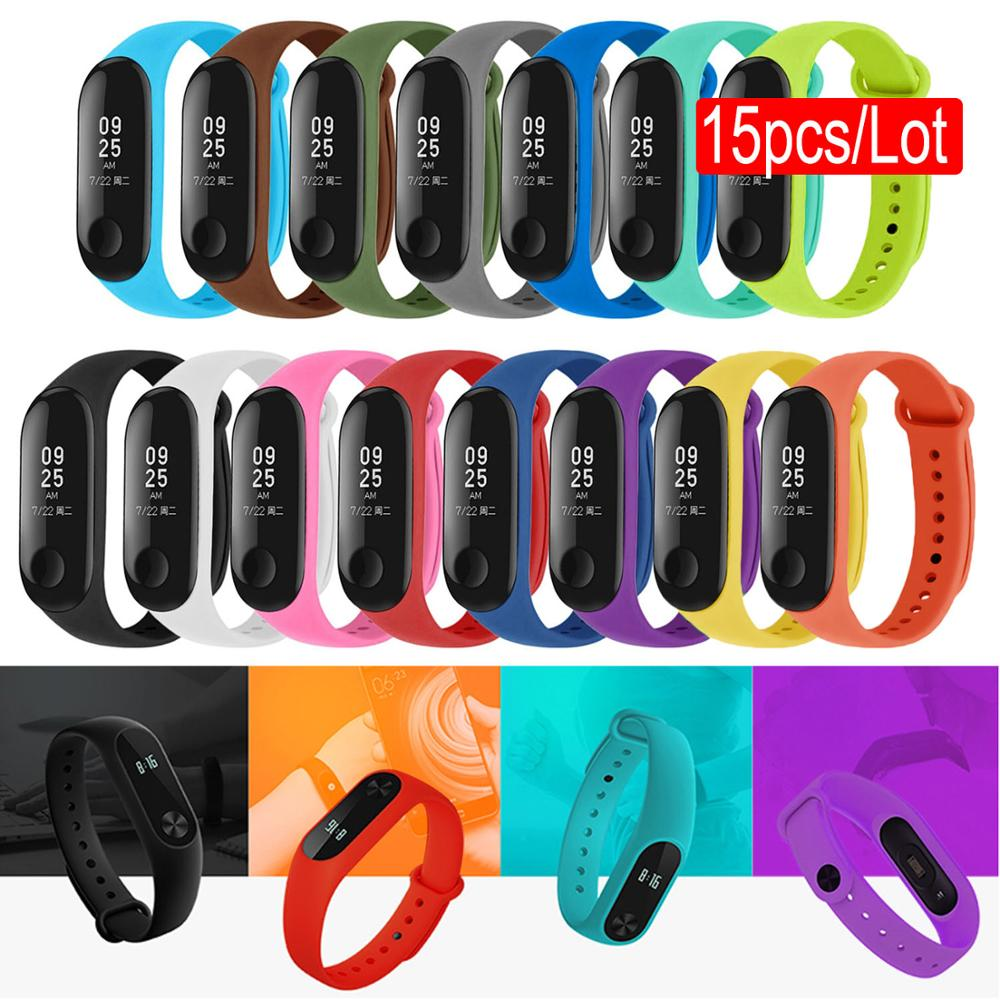 Gosear 15PCS for Xiaomi Mi Band 3 4 Correa Mi Band 3 4 Replacement Wristband Watch Strap Band Watchband Smart Bracelet Wristband