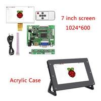 Raspberry Pi 3 LCD Screen 7 Inch 1024*600 TFT Display + Drive Board + Acrylic Case Bracket for Raspberry Pi 3 Model B Plus