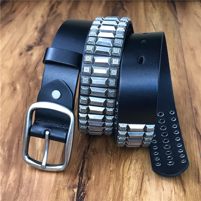 Heavy Metal Rivet Men Genuine Leather Belt Men Metal Stud Punk Jeans Belts For Men Strap
