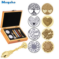 Mogoko Newest Vintage Sealing Stamp With Seal Wax Sticks without Wicks Spoon Candles Kit Tree of Life/Heart/With Love/Sunflower