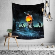 Horror Wall Tapestry Pumpkin Tomb Skull Printed Halloween Psychedelic Hanging Fabric Mandala Carpet Blanket