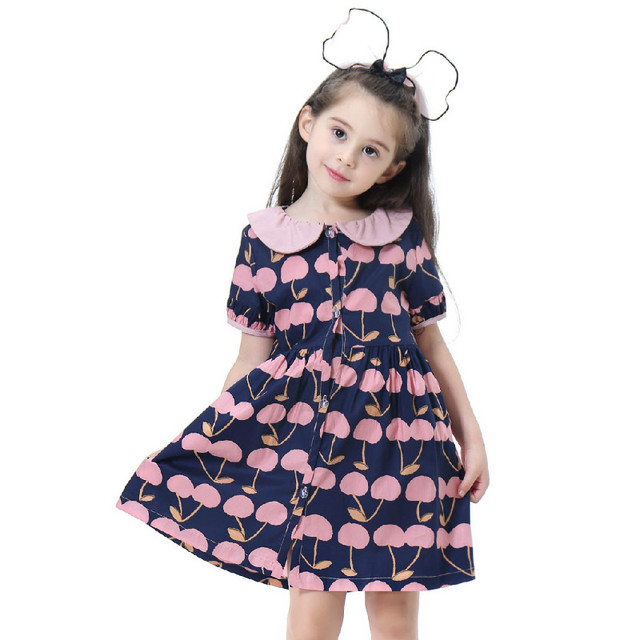 Girls Sweet Casual Dress Summer 2019 Kids Print Green Cute Mini Princess Dresses Children Short Sleeve Beach Party Vestidos