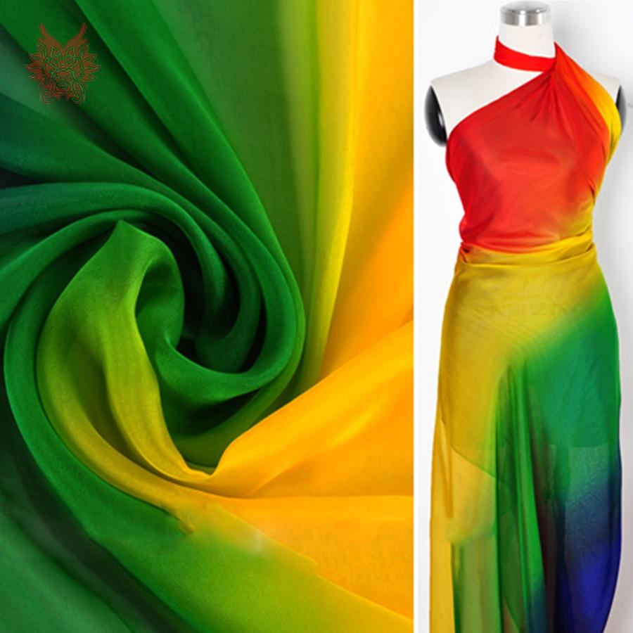 american style rainbow color stripe print 100 silk chiffon fabric