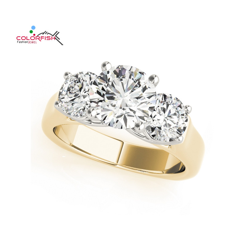 COLORFISH New Unique Design Three Stone Wedding Ring Round Cut Sona 925 Sterling Silver for Women Engagement Ring Lovers Promise unique promise ring 100