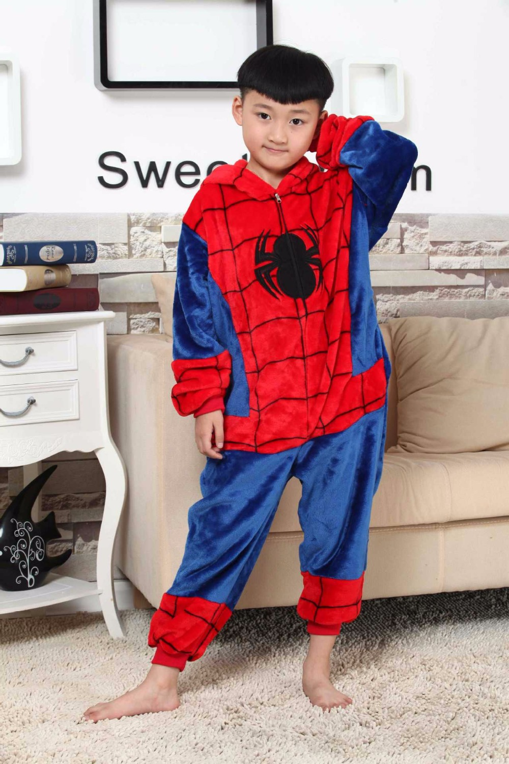 2018 New Kids Onesie Sleepwear Baby Boys Girl Pajamas Autumn Winter Children Flannel Animal Funny Animal Stitch Spiderman Pajams