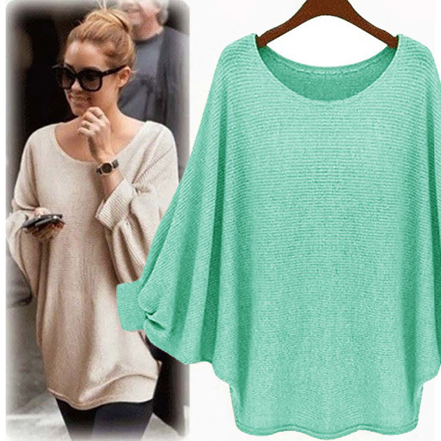 2018 New sweater Women candy color Oversized Batwing Knitted Pullover Loose Sweater Knitted Tops high quality clothing 2