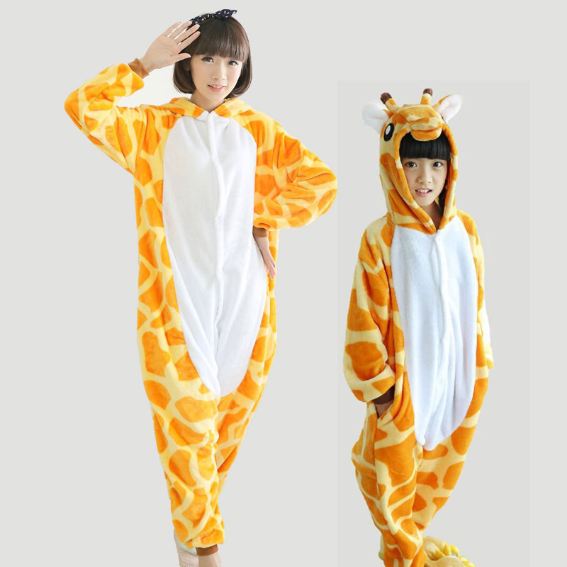 Adults Animal Giraffe Onesie Pajamas Monther Daughter Family Pajama Set Flannel Pijama Hombre For Women Femme Mujer TC007