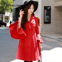 Dabuwawa зима красные, черные Шерстяное пальто Мода Flare рукавом Длинная Верхняя одежда рождественское пальто