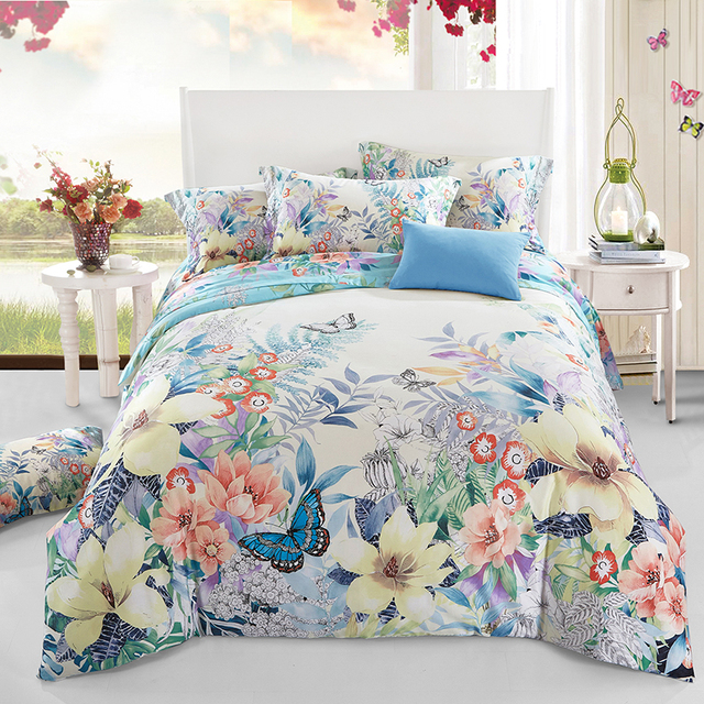Superior Colorful Flower And Butterfly Bedding Set Queen Size Soft Cotton Printed Bed  Sheets Pillowcase Quilt Cover