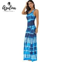 AZULINA Maxi Boho Dress Women Sleeveless Bohemian Tie Dye Illusion Print Long Summer Dress Beach Dress