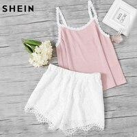 SHEIN Sleeveless Pajamas Set For Women Pink Spaghetti Strap Rib Knit Cami Top And White Lace
