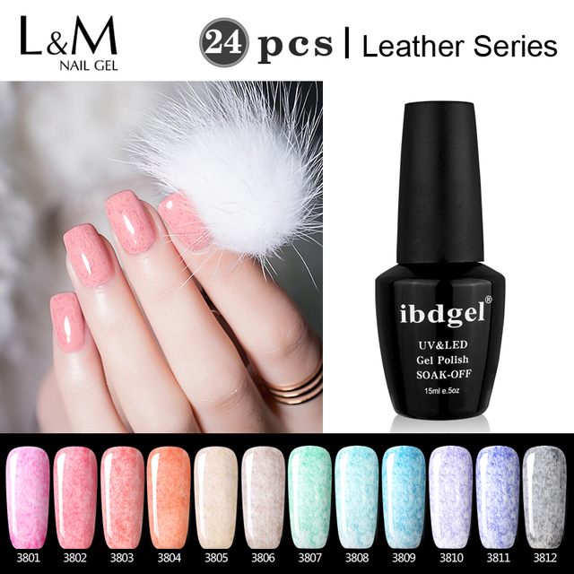 Perfectly Package 24 Pcs Leather Gel Ibdgel Brand Polish Beauty Color Nail Set Factory
