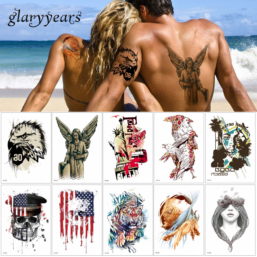 14.8*21cm glaryyears 24 Designs 1 Sheet Flower Arm Body Tattoo Sticker TH Temporary Leg Back Waist Art Tattoo Skull Eagle Makeup