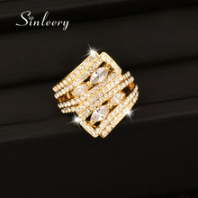 SINLEERY Design Luxury Micro Cubic Zirconia Paved Cocktail Ring Gold / Silver Color Crystal Jewelry for Aneis JZ062 SSC կանանց համար