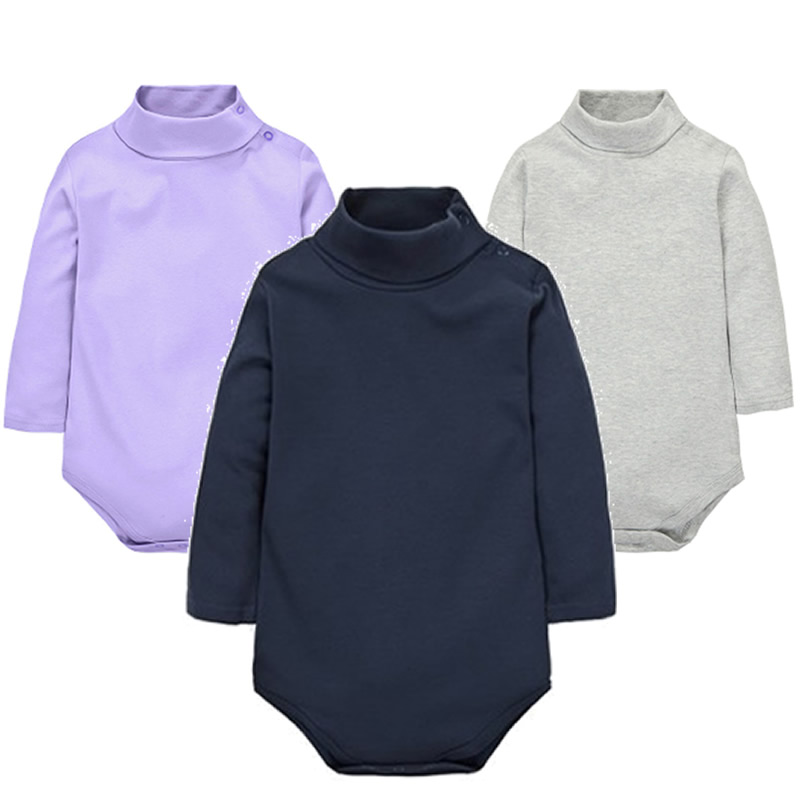 2018 New Baby Rompers baby boys girls clothes turn-down collar baby clothes Jumpsuit Long Sleeve Infant Product Solid color casual turn down collar color block drawstring design long sleeve coat for women
