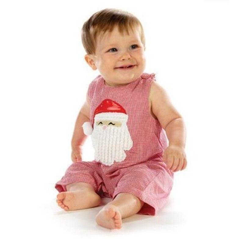 אופנה בייבי חג המולד רומפרס בוי ילדה שרוול אפוד סנטה קלאוס בגדים תחפושת