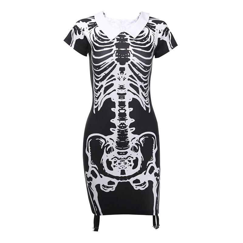 ゴシック黒半袖ロングシャツドレス女性ストレッチ頭蓋骨ハロウィーン  INSGOTH Limo 13