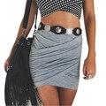 Rua moda feminina saia de cintura alta senhoras sexy bandage pacote hip bodycon feminino nova cruz dobra saias lápis vestidos jan20