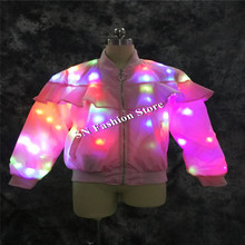 LZ08 Pink body led light costumes women dance singer dresses stage performance wears model dj party bar luminous clothing show