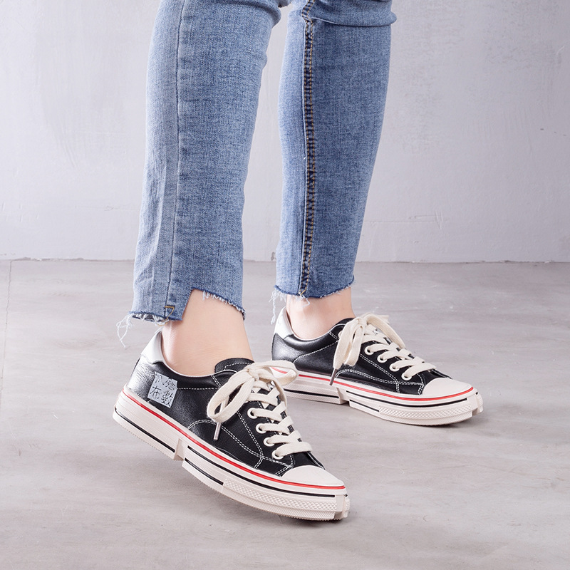 JELLYFOND White Black Women Flats Sneakers Shoes Low Top Sneakers 2019 Designer Vulcanized Shoes Genuine Leather Basket FemmeJELLYFOND White Black Women Flats Sneakers Shoes Low Top Sneakers 2019 Designer Vulcanized Shoes Genuine Leather Basket Femme