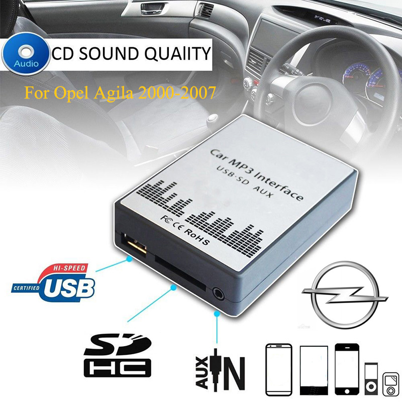 Sitaile Usb Sd Aux Automobile Mp3 Music Participant Adapters Cd Machine For Opel Agila 2000-2007 (Non Navi) 8+6Pin Interface Automobile Package Styling