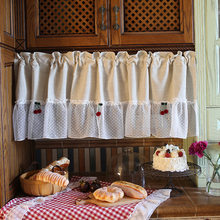 Nordic Style Half-curtain Beige Cotton Hem Coffee Curtain Red Cherry Decoration Roman Short Curtain for Kitchen Cabinet Door(China)