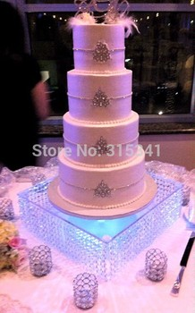 "Free Shipping Wedding Glass Crystal Cake Stand 16"" Diameter 8""Tall Including The LED Wedding Event Birthday Party Decoration"