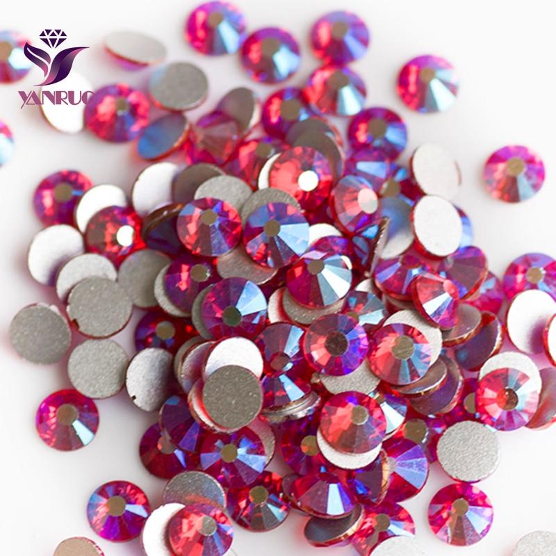 YANRUO luz Siam AB (227 AB) Cristal Flatback Crystal Rhinestones para coche Strass Cristal