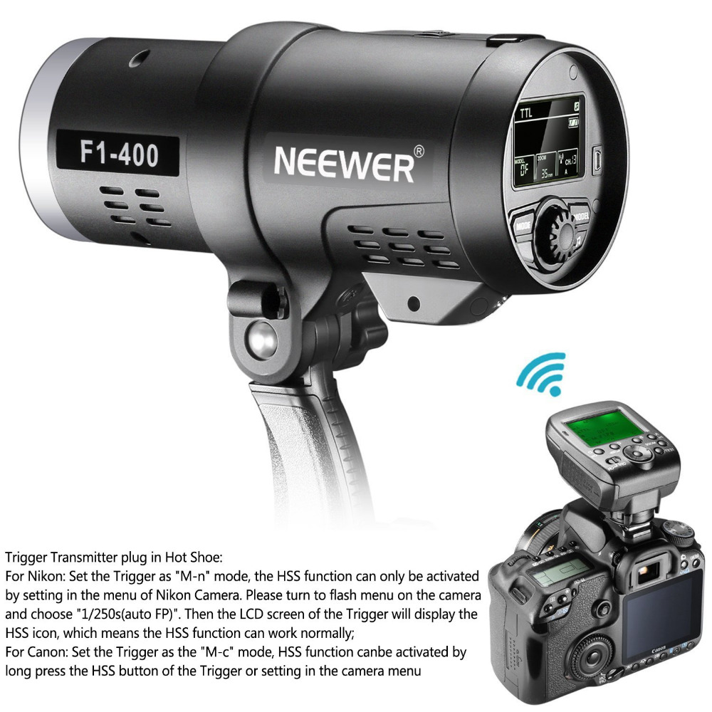 Neewer Dual TTL Flash Esterno Strobe Light per Canon Nikon DSLR Camera, con 2.4G Wireless Trigger + 3200 mAh Batteria Ricaricabile