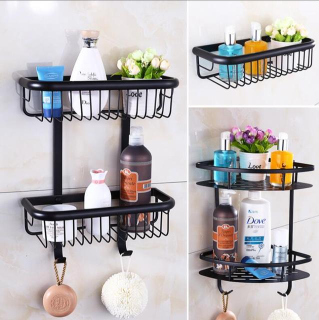 Hot Sale Wall Mounted Black Oil Brushed Bathroom Soap Dish Bath Shower Shelf  Bath Shampoo Holder