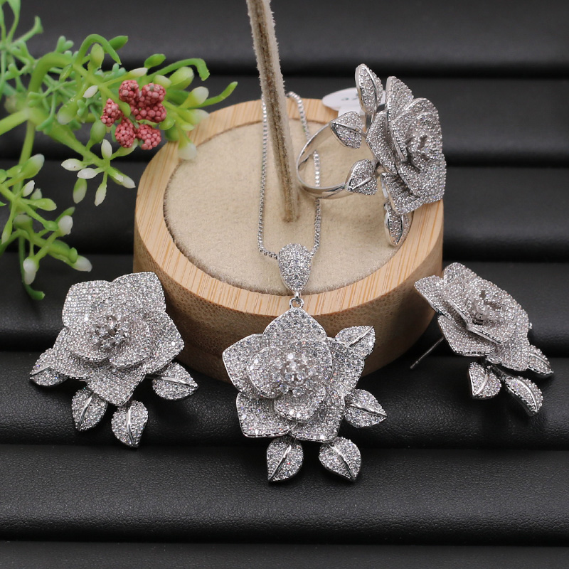 Lanyika Jewelry Set Delicate Classic Flower with Leaf Full Plated Necklace with Earrings and Ring for Engagement Popular Gifts-in Jewelry Sets from Jewelry & Accessories    2