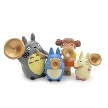 4pcs Studio Ghibli Miyazaki Hayao Totoro Musical Instruments PVC Figures Toys Blowing Horn Group Blue Totoro Toys For Home Decor
