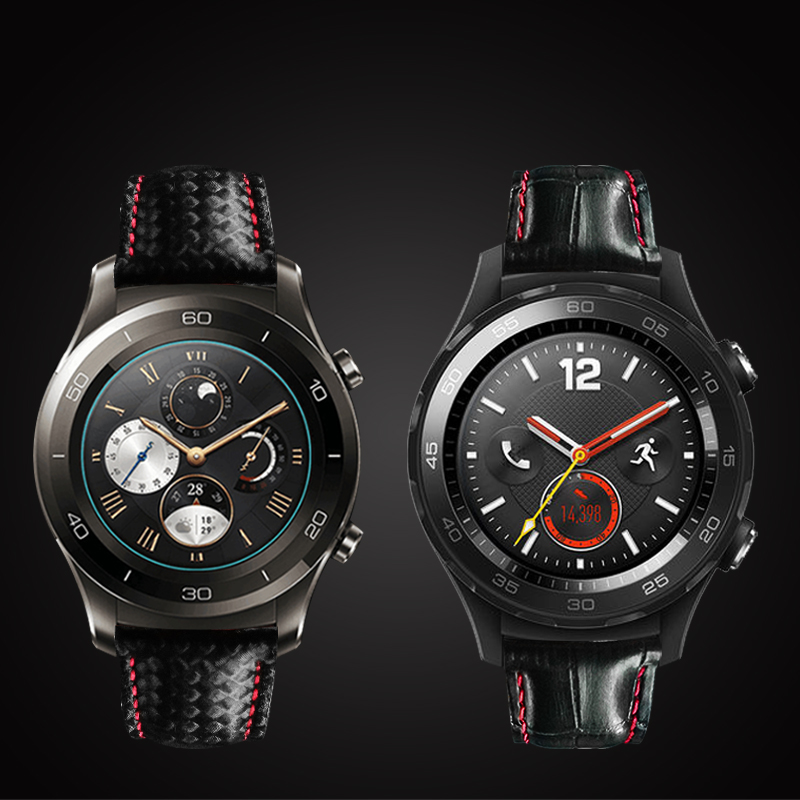 20mm 22mm Genuine Carbon Fiber Leather Band Strap For Huawei Watch 2 Pro For Samsung Gear S3 S2 Classic Best Quality Watch huawei classic leather silver mercury g00
