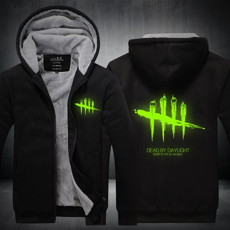 2018 Hot New Men Women Game Dead By Daylight Hoodie Luminous Zipper Hoodies Cosplay Jacket Thicken Coat Sweatshirts Casual