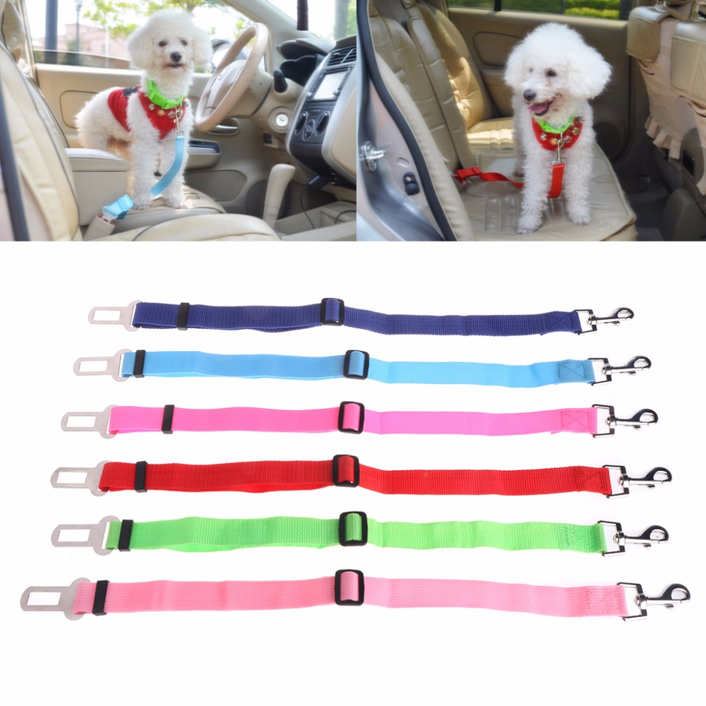 1pc Pets Dogs Cats Puppy Car Seat Safety Belt Adjustable Harness Travel Strap Lead Vehicle Dog Seatbel Pet Supplies 6 Colors W20