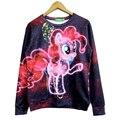 Frete grátis! outono moda de Nova Mulheres Homens My Little Pony Céu Estrelado 3D/Galaxy moletons hoodies da camisola Tops