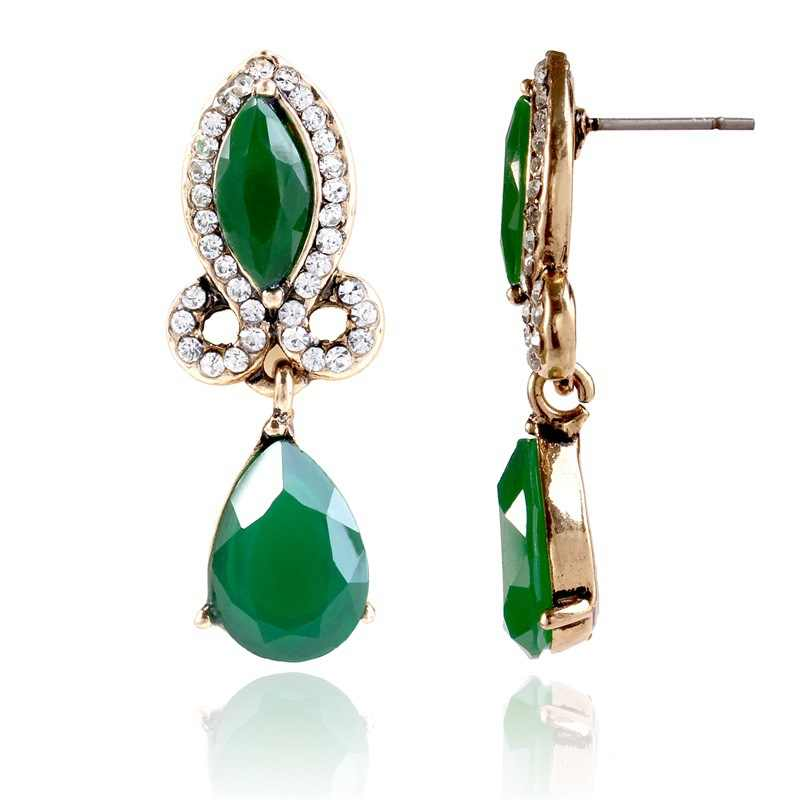 2018 New Arrival Water Drop Women Crystal Stud Vintage jewelry retro earrings for women Dangle Earrings