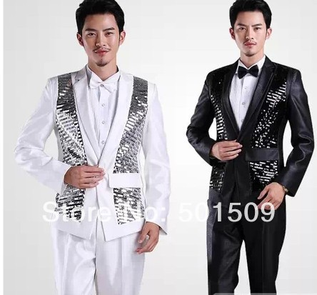 Free Shipping Mens Sequins Black/white Tuxedo Jacket And Pants Suits Set Costume Stage Performance/event Suit