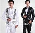Frete grátis mens paetês preto/branco do smoking jaqueta e calças ternos definir traje performance de palco/evento terno