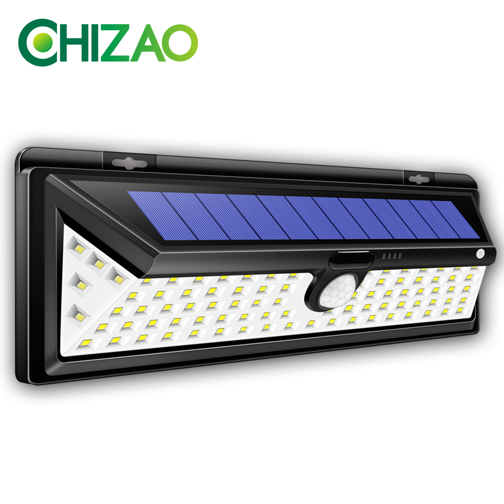 CHIZAO LED Solar Lights Outdoor Wireless Motion Sensor Lights Emergency Lamp IP65 Waterproof 3 Modes Easy Install Wall Lamp