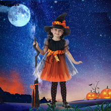 Girls Witch Costumes Halloween Bat Dress Children Kids Party Cosplay Disguise Child Girl