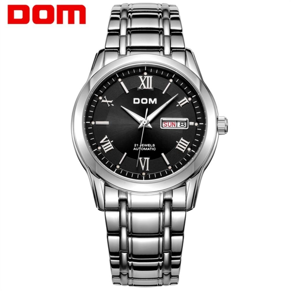 все цены на DOM Top Luxury Brand Men Watches Waterproof Mechanical Stainless Steel Man Watch Business Wirstwatch Reloj Hombre Reloj M-53D1M онлайн