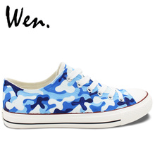 WEN Original Design Hand Painted Shoes Custom Navy Camouflage Pattern Lace Up Low Top Canvas Sneakers for Man Woman Presents