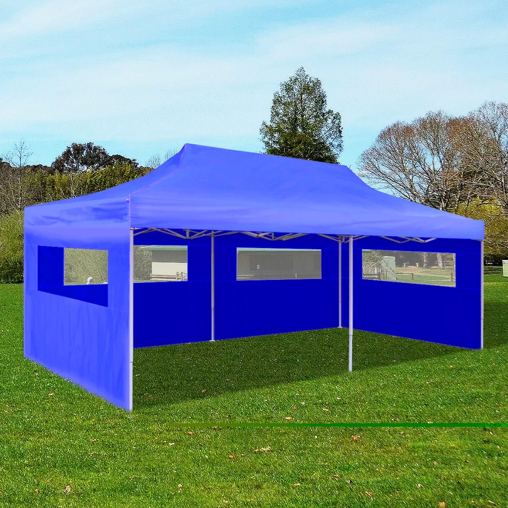 VidaXL Blue Foldable Reception Tent 3 X 6 M Durable Foldable Tent Suitable For Parties Barbecues Markets Sporting Events Camping