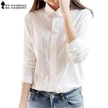 Белая блузка женщины рабочая одежда на пуговицах кружева отложным воротником с длинным рукавом хлопок лучших рубашка Большой размер S-XXL blusas feminina T56302