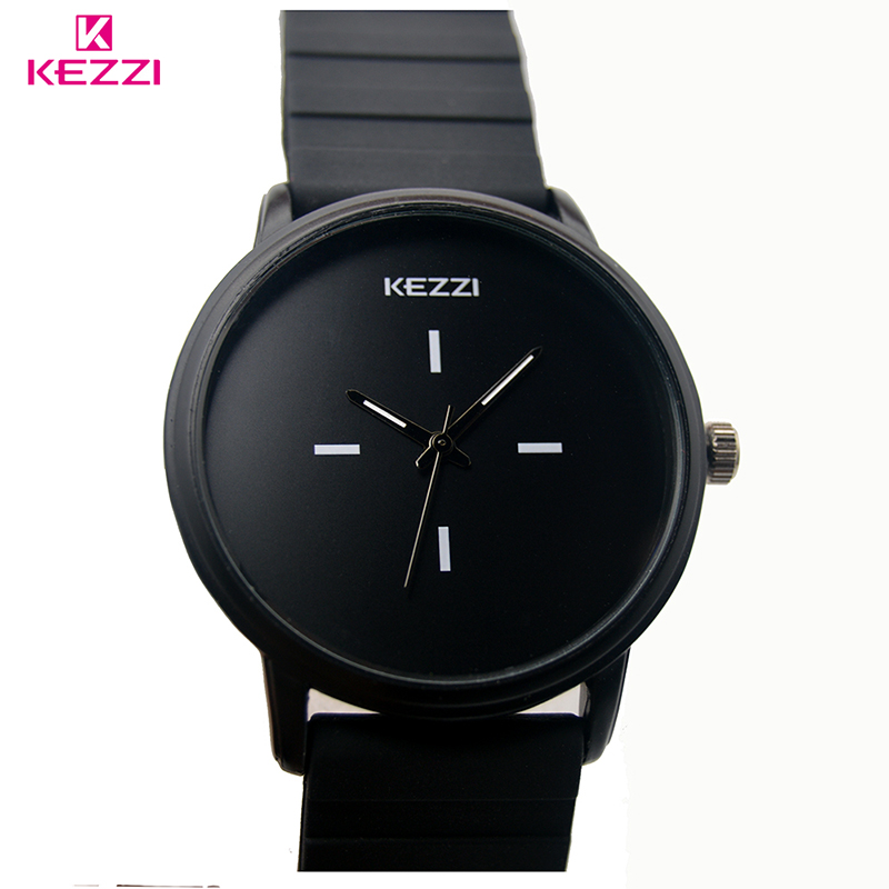 Kezzi Brand Classic Black White Silicone <font><b>Watches</b></font> Women <font><b>Big</b></font> Dial Sport Quartz <font><b>Watch</b></font> Ladies <font><b>Unisex</b></font> <font><b>Watch</b></font> Clock Relojer Feminino image